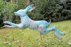Leaping Garden Hare – made from hand beaten copper – sculptures can be commisioned in any size