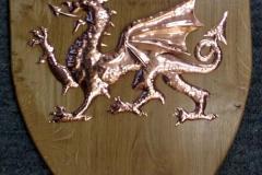Welsh Dragon made in copper on an Oak shield