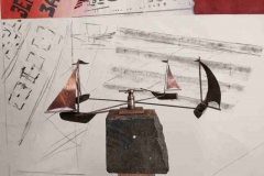 A sailboat wind sculpture prototype in the making