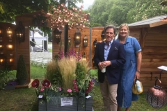 Rob Brydon Viewing a wind sculpture at Chelsea flower show 2019